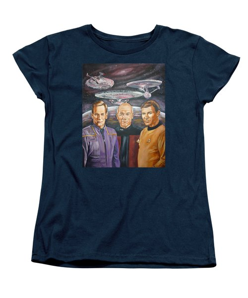 Star Trek Tribute Enterprise Captains Women's T-Shirt (Standard Cut) by Bryan Bustard