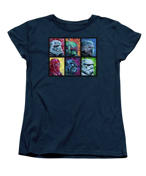 Women's T-Shirt (Standard Cut) featuring the painting Star Wars Helmet Series - Collage by Aaron Spong
