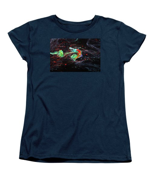 Starborn - Colorful Abstract Art Photography - Paint Pouring Women's T-Shirt (Standard Cut) by Modern Art Prints