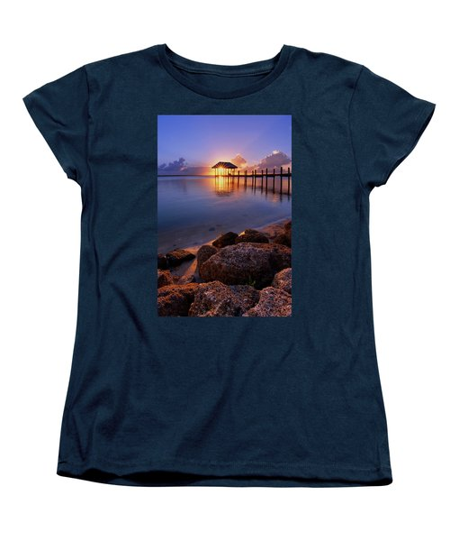 Starburst Sunset Over House Of Refuge Pier In Hutchinson Island At Jensen Beach, Fla Women's T-Shirt (Standard Cut) by Justin Kelefas