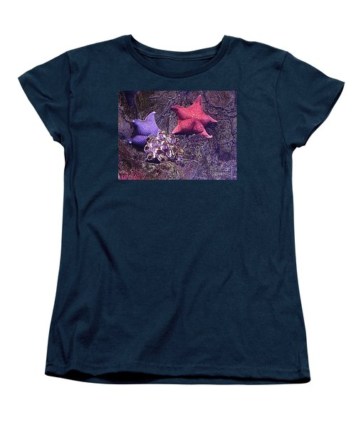 Starfish Pink Starfish Blue Women's T-Shirt (Standard Cut) by Richard W Linford