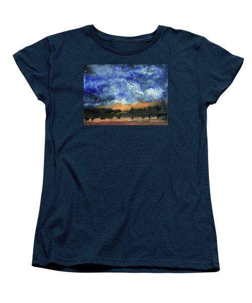 Starry Night Across Our Lake Women's T-Shirt (Standard Cut) by Randy Sprout
