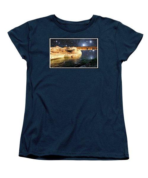 Starry Night Fantasy, Lake Powell, Arizona Women's T-Shirt (Standard Cut) by A Gurmankin NASA STSci