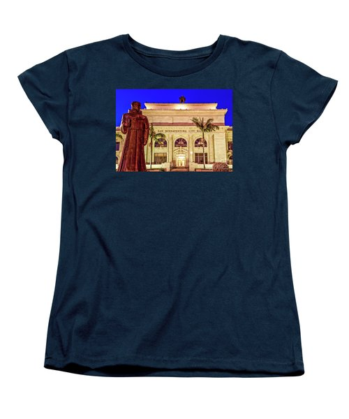 Women's T-Shirt (Standard Cut) featuring the photograph Statue Of Saint Junipero Serra In Front Of San Buenaventura City Hall by John A Rodriguez