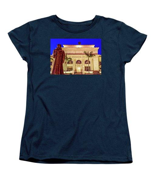 Statue Of Saint Junipero Serra In Front Of San Buenaventura City Hall Women's T-Shirt (Standard Cut)