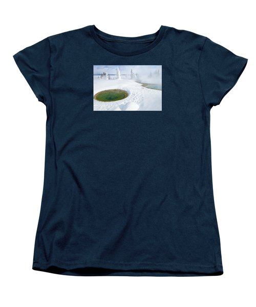 Women's T-Shirt (Standard Cut) featuring the photograph Steam And Snow by Gary Lengyel
