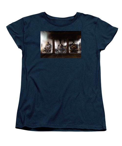 Steam Locomotives In The Roundhouse Of The Durango And Silverton Narrow Gauge Railroad In Durango Women's T-Shirt (Standard Cut) by Carol M Highsmith