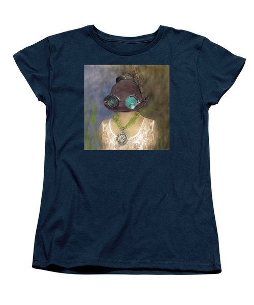 Steampunk Beauty With Hat And Goggles - Square Women's T-Shirt (Standard Cut) by Betty Denise