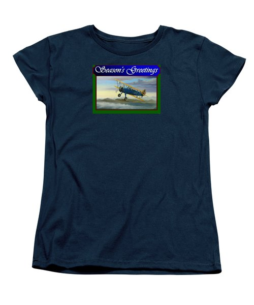 Stearman Christmas Card Women's T-Shirt (Standard Cut) by Stuart Swartz
