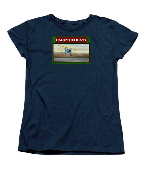 Stearman Morning Flight Christmas Card Women's T-Shirt (Standard Cut) by Stuart Swartz