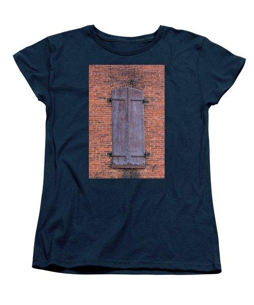 Women's T-Shirt (Standard Cut) featuring the photograph Steel Shutters by Paul Freidlund