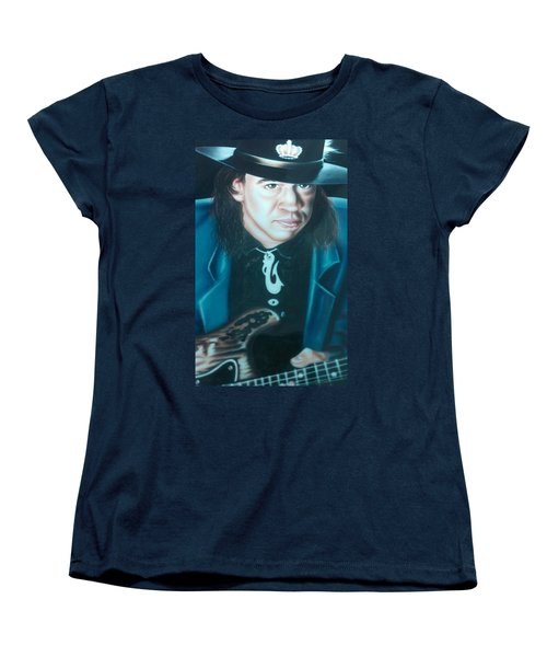 Women's T-Shirt (Standard Cut) featuring the painting Stevie Ray Vaughn by Darren Robinson