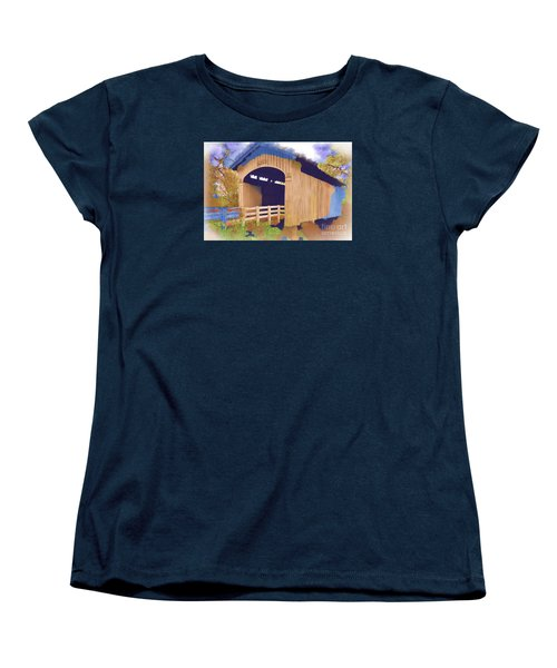 Stewart Bridge In Watercolor Women's T-Shirt (Standard Cut) by Kirt Tisdale