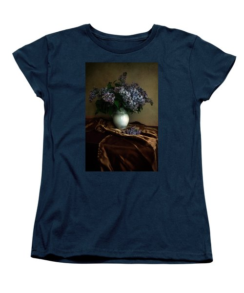 Women's T-Shirt (Standard Cut) featuring the photograph Still Life With Bouqet Of Fresh Lilac by Jaroslaw Blaminsky