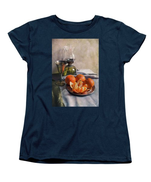 Women's T-Shirt (Standard Cut) featuring the photograph Still Life With Fresh Tangerines And Oil Lamp by Jaroslaw Blaminsky