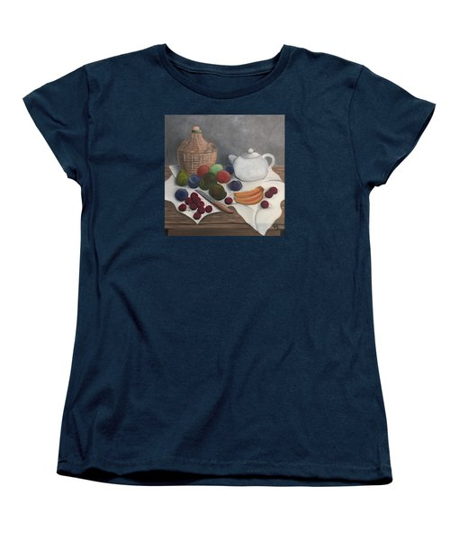 Still Life With Jug Wine And Fruits Women's T-Shirt (Standard Cut) by Victoria Lakes