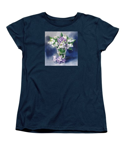 Still Life With Lilacs And Lilies Of The Valley Women's T-Shirt (Standard Cut) by Sergey Lukashin