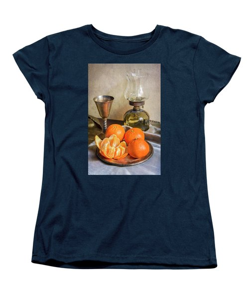 Women's T-Shirt (Standard Cut) featuring the photograph Still Life With Oil Lamp And Fresh Tangerines by Jaroslaw Blaminsky