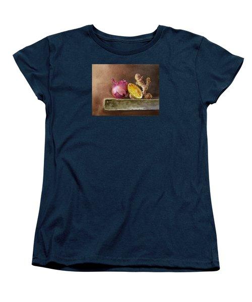 Still Life With Onion Lemon And Ginger Women's T-Shirt (Standard Cut) by Irina Sztukowski