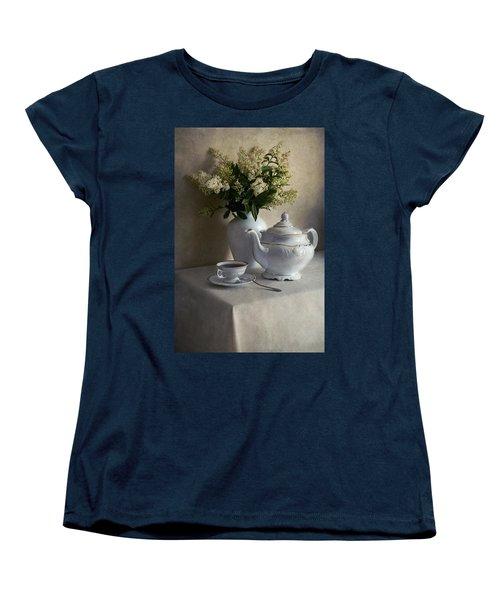 Still Life With White Tea Set And Bouquet Of White Flowers Women's T-Shirt (Standard Cut) by Jaroslaw Blaminsky