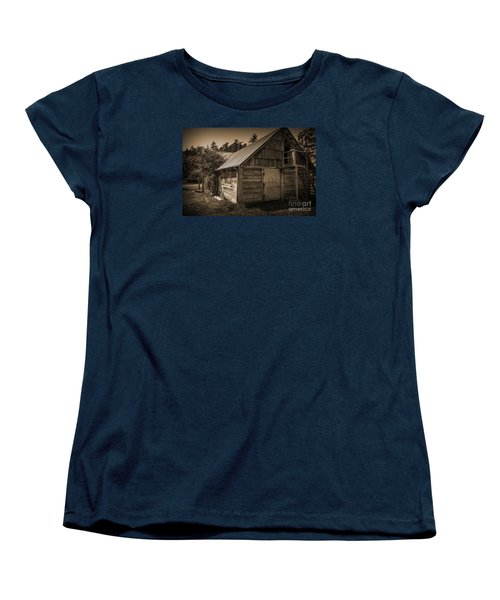 Women's T-Shirt (Standard Cut) featuring the photograph Storage Shed In Sepia by Kirt Tisdale