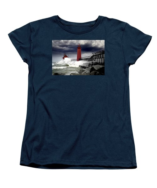 Storm At The Grand Haven Lighthouse Women's T-Shirt (Standard Cut)