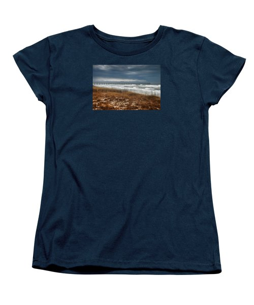 Women's T-Shirt (Standard Cut) featuring the photograph Stormy Day At The Pier by Renee Hardison