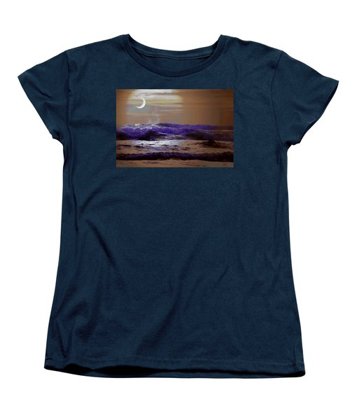 Ocean Women's T-Shirt (Standard Cut) featuring the photograph Stormy Night by Aaron Berg