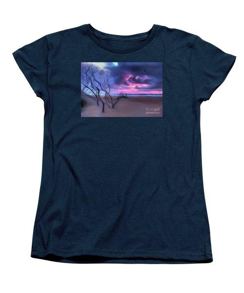Stormy Outer Banks Sunrise And Bush Ap Women's T-Shirt (Standard Cut) by Dan Carmichael