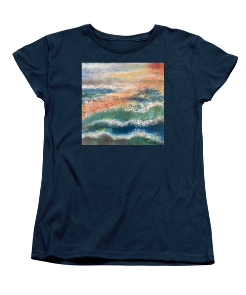 Women's T-Shirt (Standard Cut) featuring the painting Stormy Seas by Kim Nelson