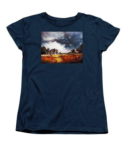 Women's T-Shirt (Standard Cut) featuring the painting Stormy Skies by Geni Gorani
