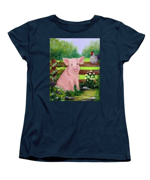 Women's T-Shirt (Standard Cut) featuring the painting Storybook Pig by Sandra Estes