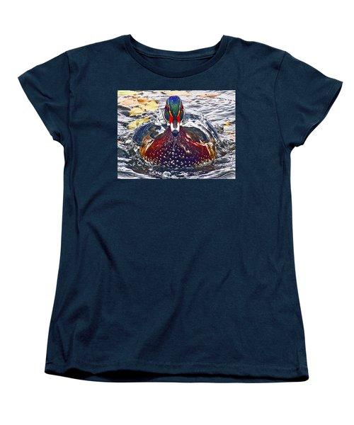 Straight Ahead Wood Duck Women's T-Shirt (Standard Cut) by Jean Noren
