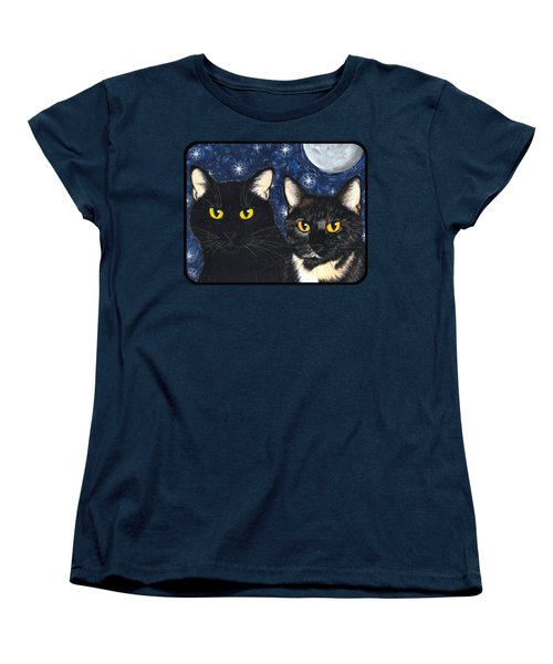 Women's T-Shirt (Standard Cut) featuring the painting Strangeling's Felines - Black Cat Tortie Cat by Carrie Hawks