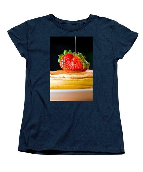 Strawberry Butter Pancake With Honey Maple Sirup Flowing Down Women's T-Shirt (Standard Cut) by Ulrich Schade