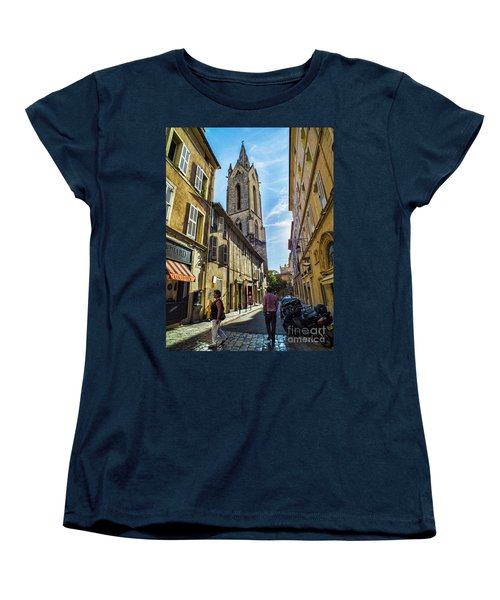 Street In Aix Women's T-Shirt (Standard Cut) by Karen Lewis