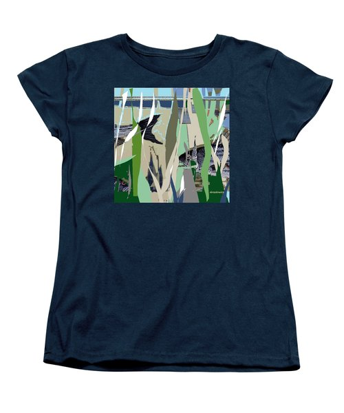 Women's T-Shirt (Standard Cut) featuring the mixed media Striper  by Andrew Drozdowicz