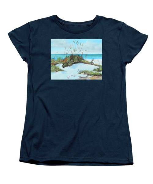 Sugar White Beach Women's T-Shirt (Standard Cut) by Lloyd Dobson