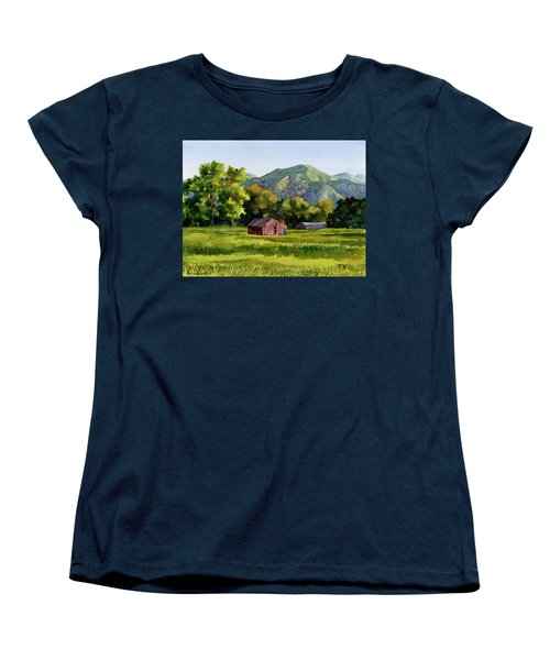 Women's T-Shirt (Standard Cut) featuring the painting Summer Evening by Anne Gifford