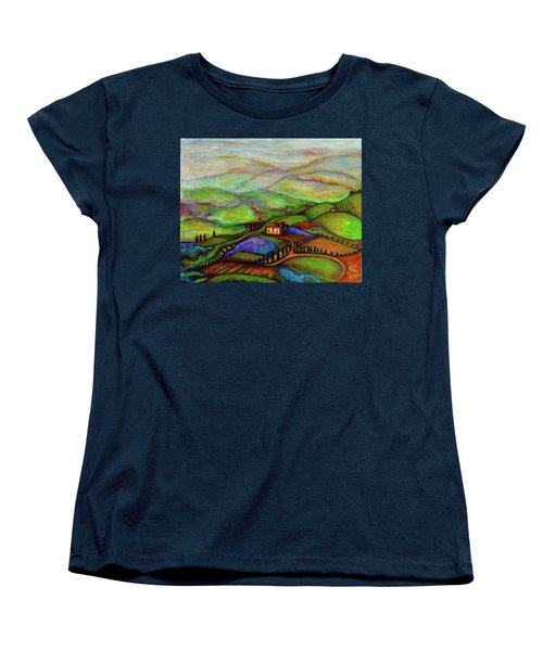 Women's T-Shirt (Standard Cut) featuring the painting Summer Hills by Rae Chichilnitsky