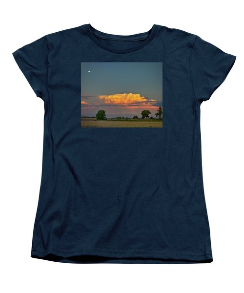 Women's T-Shirt (Standard Cut) featuring the photograph Summer Night Storms Brewing And Moon Above by James BO Insogna