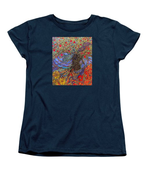 Women's T-Shirt (Standard Cut) featuring the painting Enchanted Garden by Rae Chichilnitsky