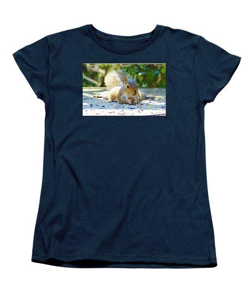 Sun Bathing Squirrel Women's T-Shirt (Standard Cut) by Kathy Kelly