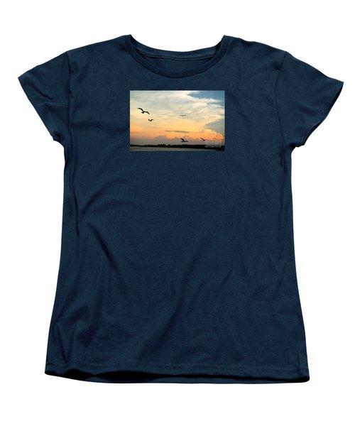 Sun Setting Over The Lake   Women's T-Shirt (Standard Cut) by Yumi Johnson