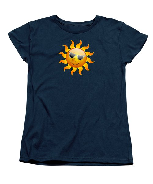 Women's T-Shirt (Standard Cut) featuring the digital art Sun With Sunglasses by Movie Poster Prints