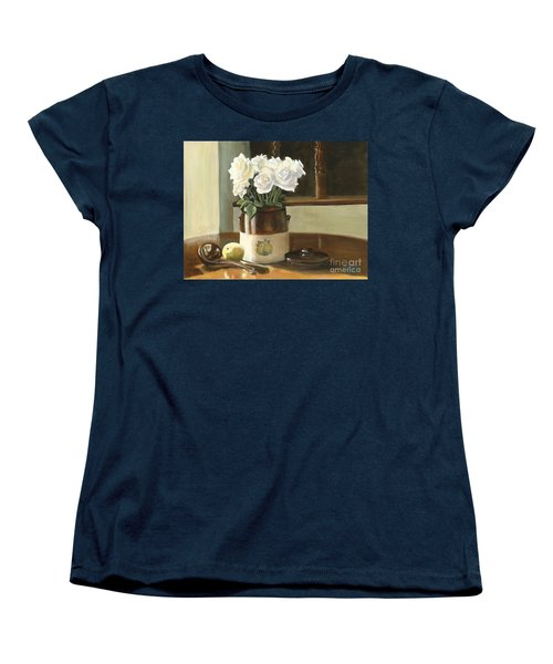 Women's T-Shirt (Standard Cut) featuring the painting Sunday Morning And Roses - Study by Marlene Book