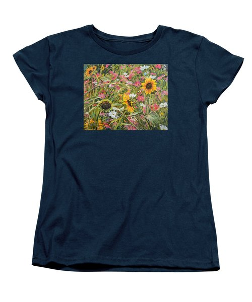 Women's T-Shirt (Standard Cut) featuring the painting Sunflower And Cosmos by Steve Spencer