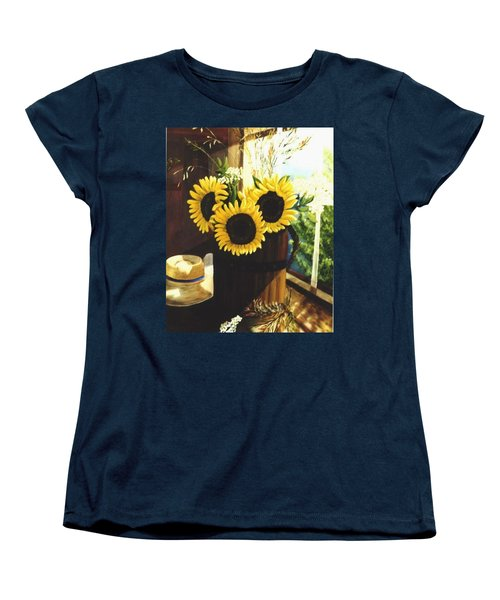 Women's T-Shirt (Standard Cut) featuring the painting Sunflower Sill by Renate Nadi Wesley