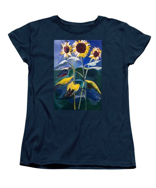 Women's T-Shirt (Standard Cut) featuring the painting Sunflowers Standing Tall by Betty Pieper