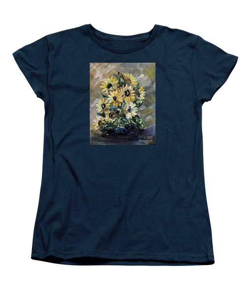 Women's T-Shirt (Standard Cut) featuring the painting Sunflowers by Teresa Wegrzyn